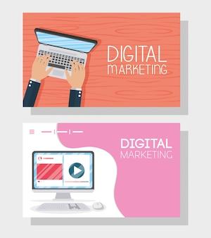 Технология цифрового маркетинга с ноутбуком и настольным компьютером