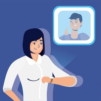 スマートウォッチで現実の仮想技術を使用している女性
