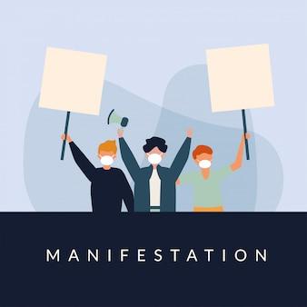 Мужчины с медицинскими масками, баннерами, щитами и мегафоном