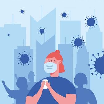 市でマスクを持つ女性
