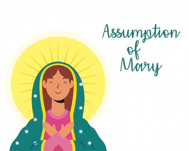 レタリングのある美しいマリアの処女の仮定