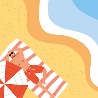 Человек на пляже летние каникулы сцена