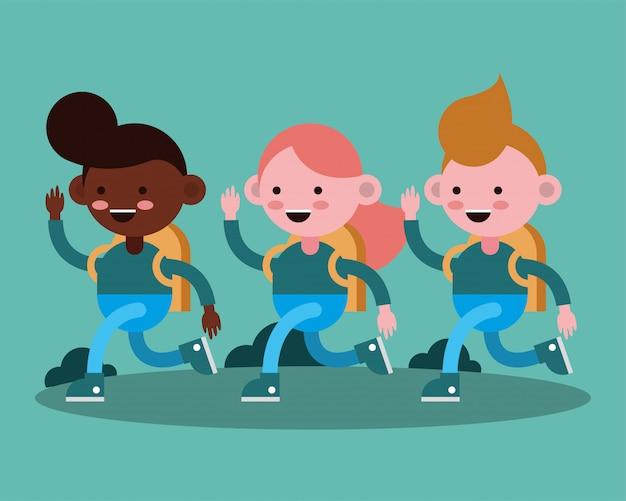 Маленькие студенты гуляют комические персонажи