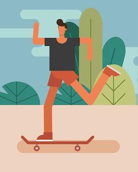 スケートボードの練習の文字の若い男