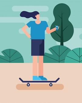 スケートボードの練習の文字の若い女性
