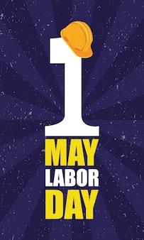 ヘルメットとレタリングで幸せな労働者の日のお祝い