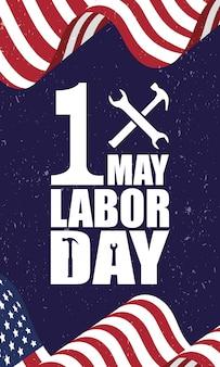 アメリカの国旗とハッピー労働者の日のお祝い