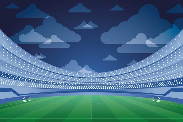 スタジアムシーンでサッカースポーツエンブレムポスター