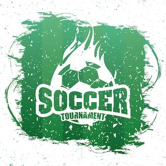 バルーンエンブレムとサッカースポーツグリーンポスター