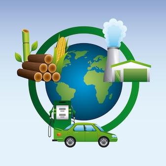 世界のガソリンサトウキビ植物バイオ燃料サイクル
