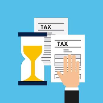 砂時計と税務書類を持つ手