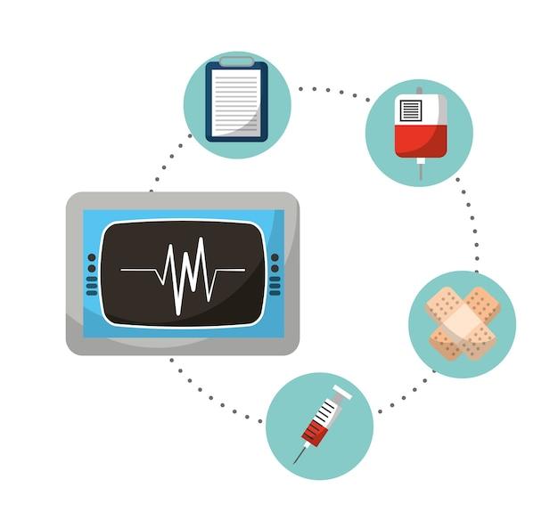Мониторинг скорости кардиология медицинские иконки