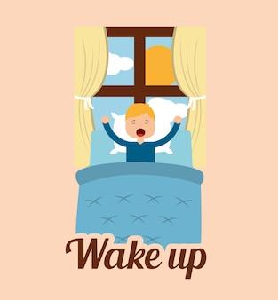 Проснись маленький мальчик в постели и солнце