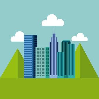 Панорама зданий городской с горами естественный