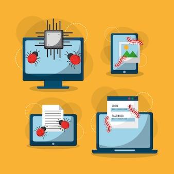 サイバー犯罪ウイルスデジタル保護攻撃のアイコン