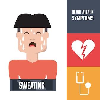 Человек с симптомами сердечного приступа и состоянием