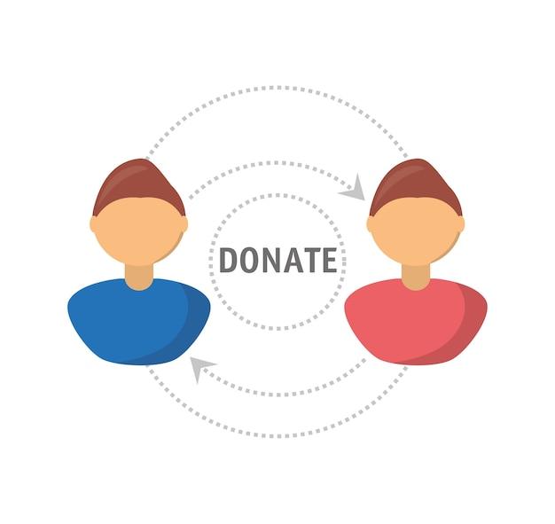 人々の慈善団体への寄付支援シンボル