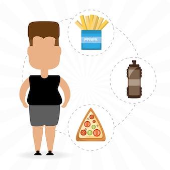 ファーストフードを食べるための人の脂肪
