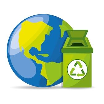 Мусорная корзина с символом рециркуляции для сохранения планеты