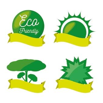 Установить зеленый значок и ленту для сохранения планеты