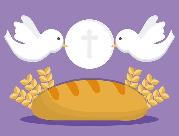 鳩のパン小麦の耳のアイコン