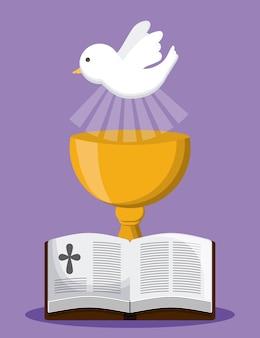 聖書の鳩のカップ金宗教のアイコン