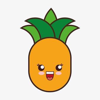 Ананас каваий мультфильм улыбается здорового питания значок