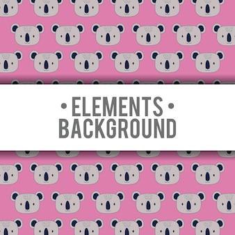 Элементы фона дизайн милые коалы