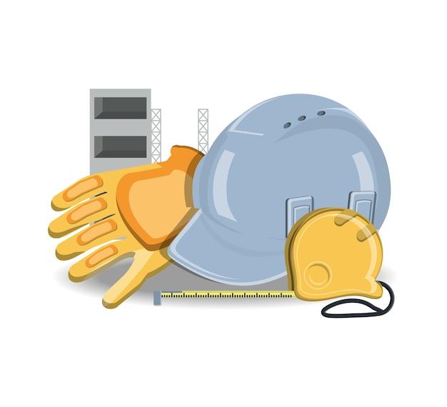 安全ヘルメットとツールを備えた建設機械の設計