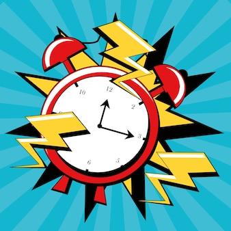 時計と雷のアイコンを持つポップアートのデザイン