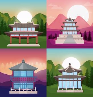 アジアの寺院のアイコンセット