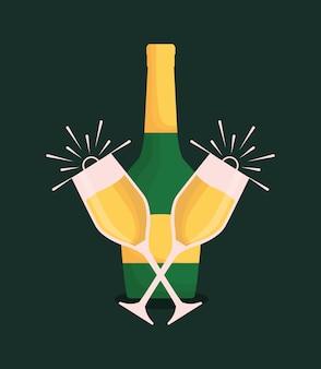Бутылка шампанского и очки