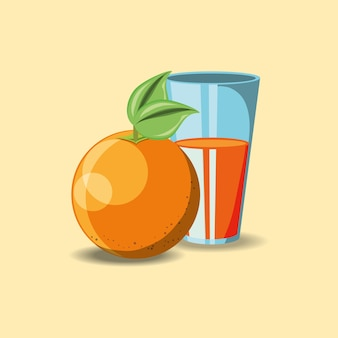 Оранжевый и стакан с соком на оранжевом фоне