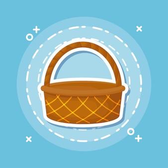 青い背景、カラフルなデザインの上にピクニックバスケットのアイコン。ベクトルイラスト