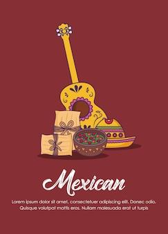 ギターとメキシコの食べ物とメキシコのコンセプトのインフォグラフィック、茶色の背景、カラフルなデザイン。