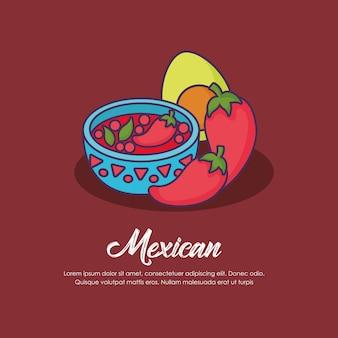 赤の背景、カラフルなデザインの上にメキシコソースボールとメキシコの概念のインフォグラフィック。ベクター