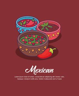 メキシコソースのメキシコの概念のインフォグラフィック、赤い背景、カラフルなデザインの上にボウル。ベクター