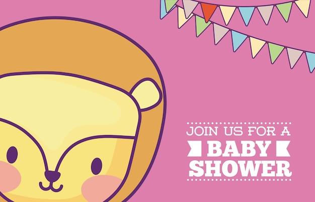 Пригласительный билет для ребенка с милой иконкой льва и декоративными вымпелами на розовом фоне, цвет