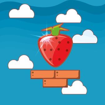 大きなイチゴのアイコンとビデオゲームのインターフェイス