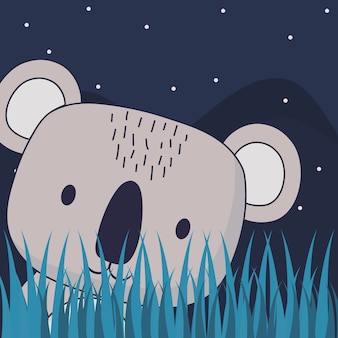 Милый коала за ночным лесом пейзаж фон