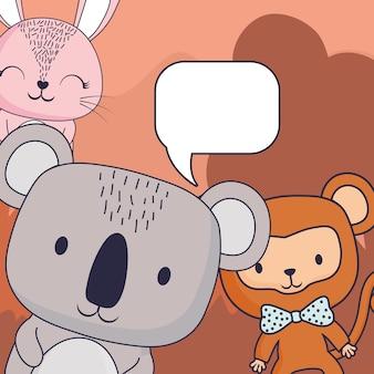 Милая обезьяна и кролик с речевым пузырем