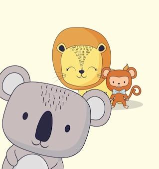 Милый лев с коалой и обезьяной