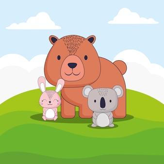 Милый медведь с кроликом и коалой