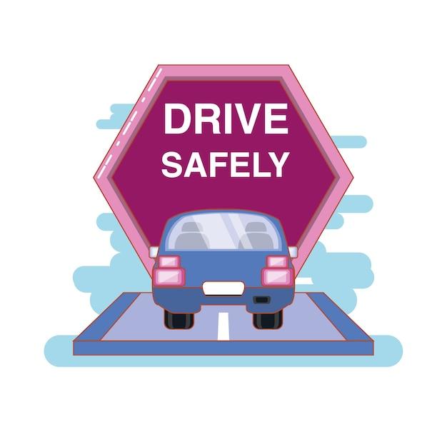 ドライバーは安全にキャンペーンラベルのイラストデザイン