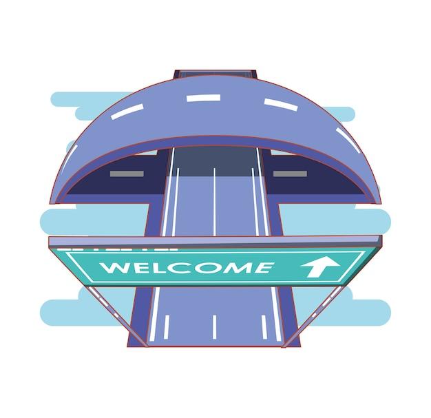 ウェルカムラベルのベクトルイラストデザインの道路