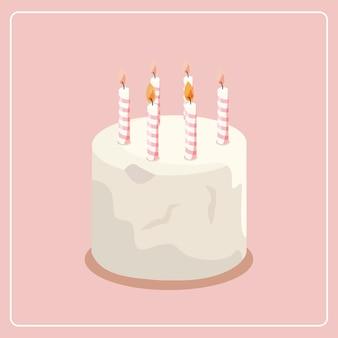 Белый торт рождения с горящими свечами векторных иллюстраций