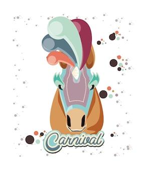 カーニバル馬ヴィンテージアイコンのイラストデザイン