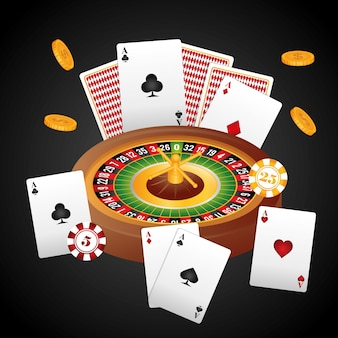 Концепция казино с дизайном значков лас-вегаса