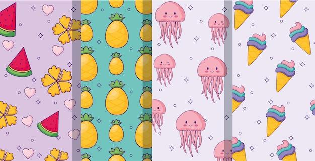 Фрукты и милые модели медуз
