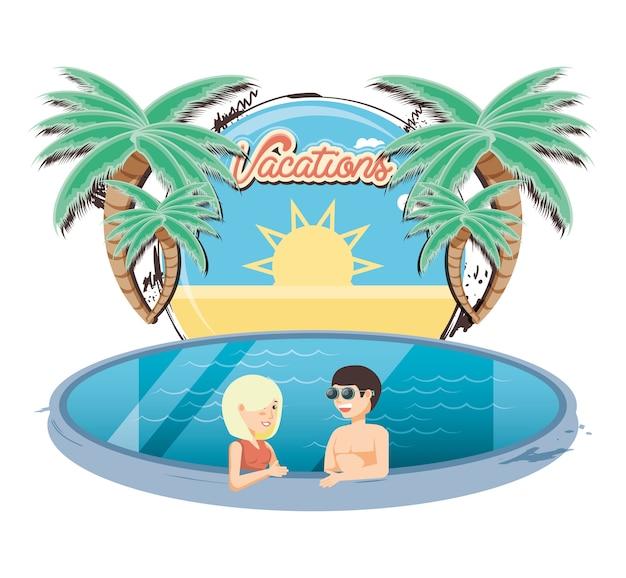 休暇のカップルは、プールアイコンのベクトル化